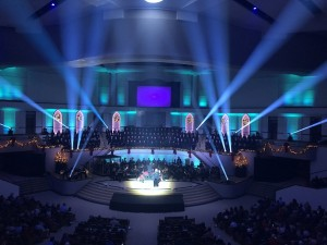 LED retrofit at Olive Baptist Church includes Elation stage lighting